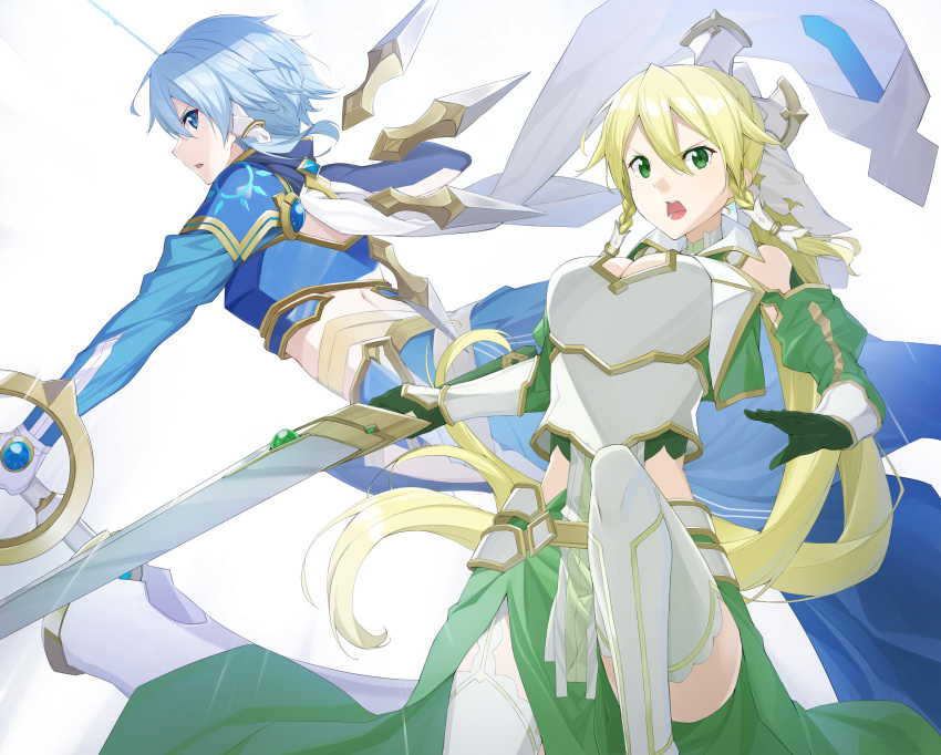 2girls absurdres armor armored_skirt bangs black_gloves blonde_hair blue_eyes blue_hair blue_jacket blue_skirt bow_(weapon) braid breastplate clothing_cutout commentary floating from_side frown gloves green_eyes green_jacket green_skirt hair_ornament hair_tubes highres holding holding_bow_(weapon) holding_sword holding_weapon jacket leafa leafa_(terraria) leg_up long_hair long_skirt long_sleeves looking_at_viewer metal_wings multiple_girls open_mouth pelvic_curtain ponytail raitho104 short_hair shoulder_cutout sinon sinon_(solus) skirt sword sword_art_online sword_art_online:_alicization sword_art_online:_alicization_-_war_of_underworld twin_braids very_long_hair weapon white_background