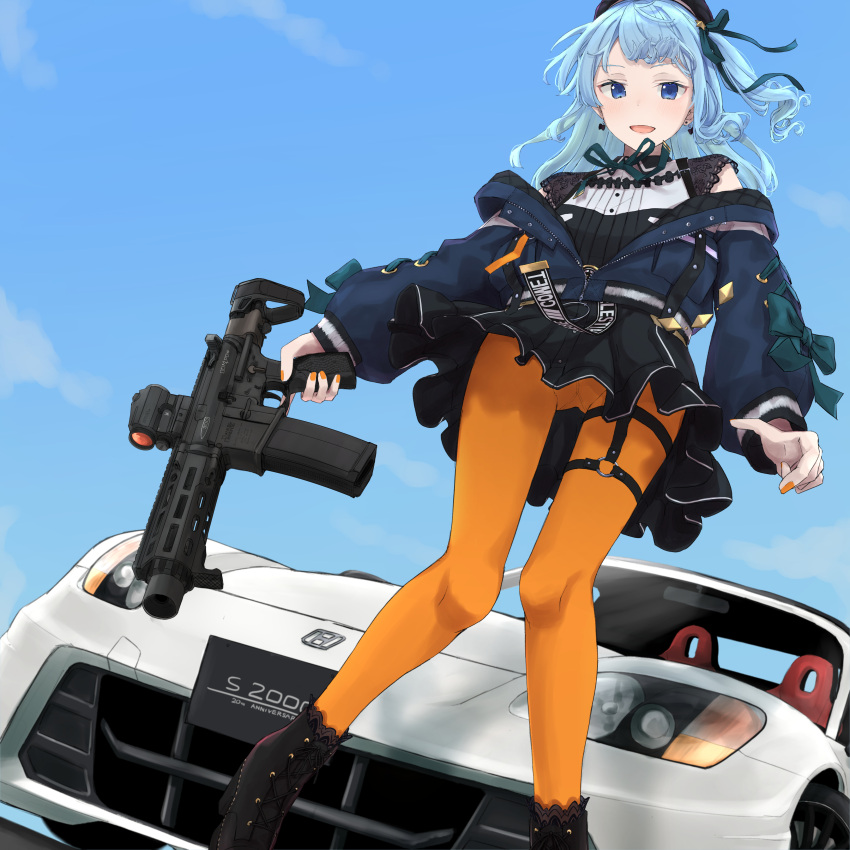 1girl absurdres ar-15 artist_request bangs black_footwear black_headwear black_skirt blue_eyes blue_hair blue_jacket boots car cross-laced_footwear earrings from_below ground_vehicle gun hat highres holding holding_gun holding_weapon hololive honda honda_s2000 hoshimachi_suisei jacket jewelry lace-up_boots long_hair long_sleeves looking_at_viewer motor_vehicle nail_polish one_side_up open_mouth orange_legwear orange_nails pantyhose print_belt rifle skirt smile solo star_(symbol) star_in_eye symbol_in_eye thigh_strap trigger_discipline virtual_youtuber weapon