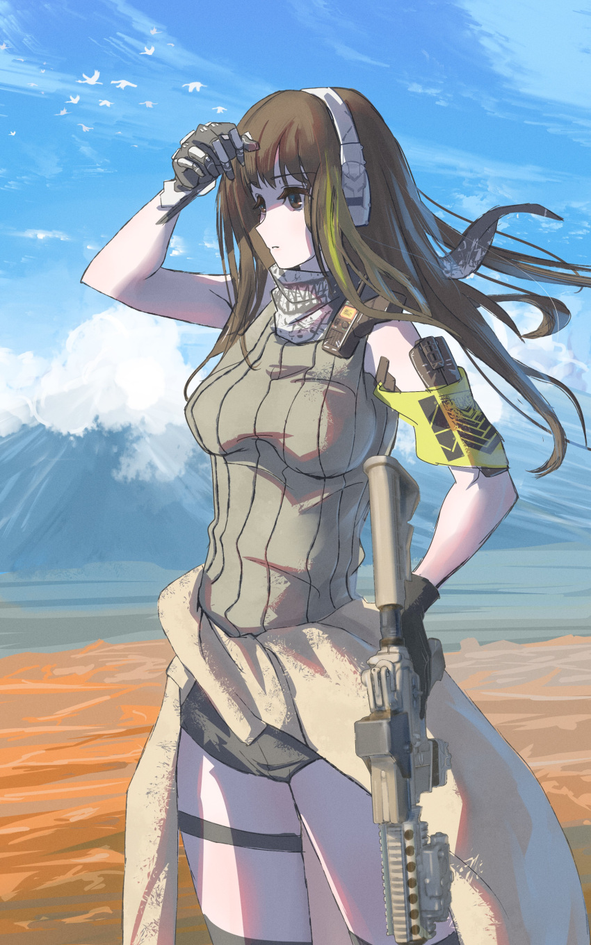 1girl absurdres armband assault_rifle bandana breasts brown_eyes brown_hair clothes_around_waist commentary_request cowboy_shot girls_frontline gloves green_hair grifon_&_kryuger gun headset highres holding holding_gun holding_weapon jacket jacket_around_waist long_hair m4_carbine m4a1_(girls_frontline) mechanical_hands medium_breasts multicolored_hair outdoors ribbed_sweater rifle shading_eyes shorts shu70077 single_mechanical_hand sky sleeveless sleeveless_sweater solo streaked_hair sweater thigh_strap walkie-talkie weapon