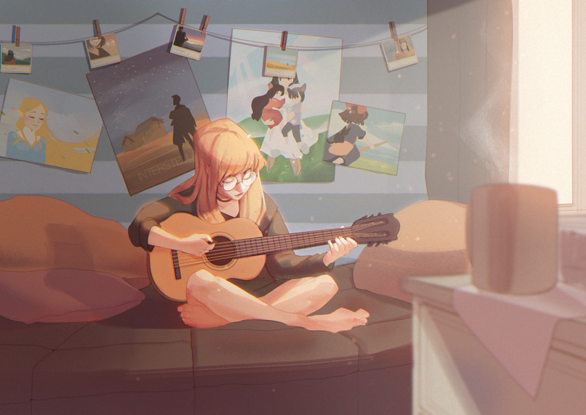 1girl ave bangs barefoot blonde_hair character_request choker closed_eyes closed_mouth collarbone commentary copyright_name cup curtains english_commentary from_side full_body glasses guitar holding holding_instrument indoors instrument interstellar_(movie) joseph_cooper lips long_hair long_sleeves majo_no_takkyuubin music ookami_kodomo_no_ame_to_yuki original photo_(object) pillow playing_instrument poster_(object) princess_zelda room round_eyewear shirt sitting smile solo sunlight the_legend_of_zelda the_legend_of_zelda:_breath_of_the_wild window