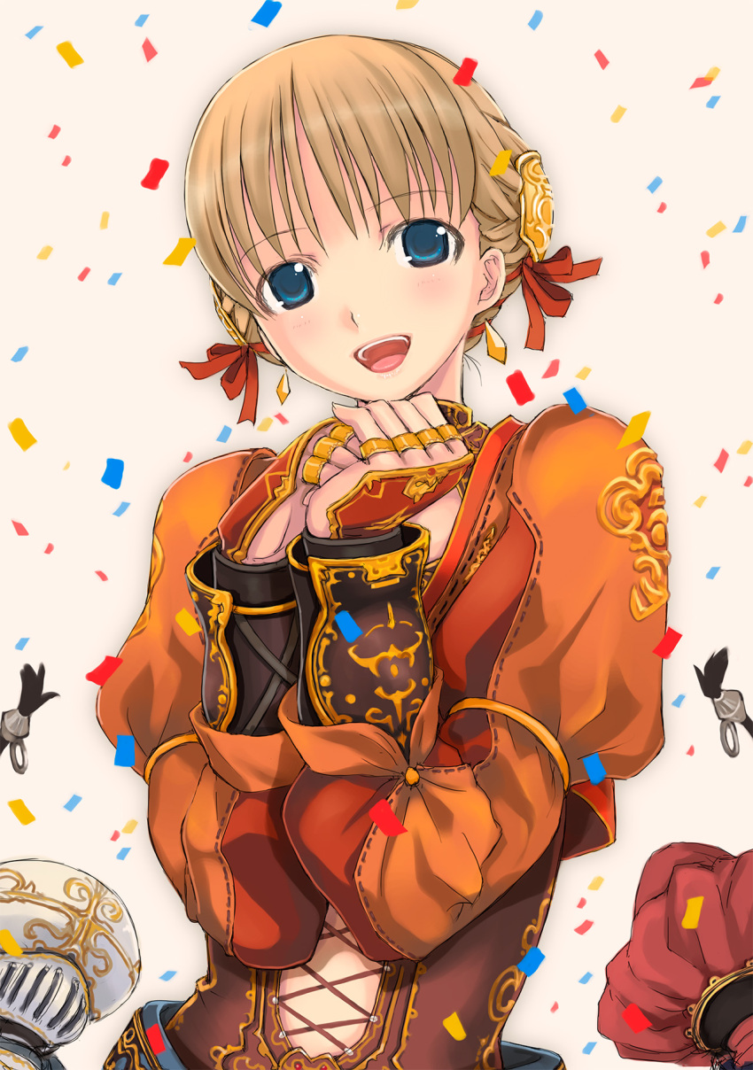 1girl aphmau arm_guards blonde_hair blue_eyes commentary_request confetti corset final_fantasy final_fantasy_xi hair_ribbon highres hume jewelry long_sleeves looking_at_viewer mikazuki_akira! open_mouth ovjang photoshop_(medium) ribbon ring smile solo_focus