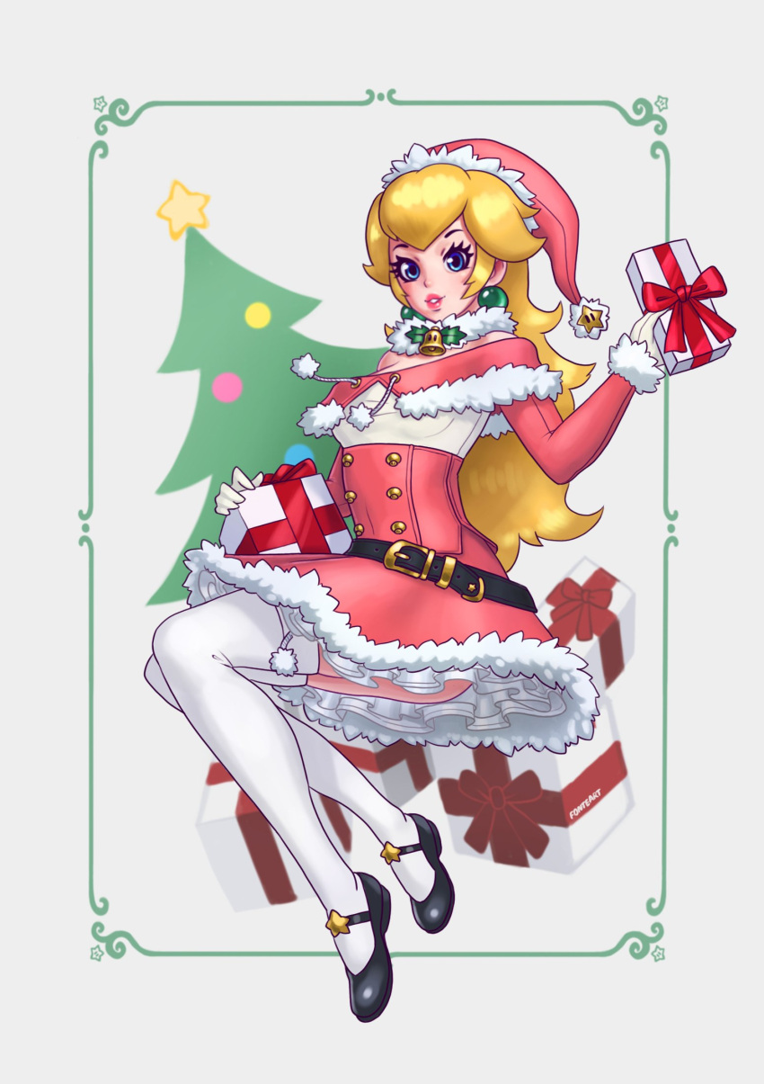 1girl adapted_costume alternate_costume bell belt black_footwear blonde_hair blue_eyes bodice christmas christmas_present christmas_tree commentary english_commentary fonteart gem gloves hat highres jewelry looking_at_viewer mario_(series) neck_bell parted_lips pink_headwear pink_lips princess_peach santa_costume santa_hat signature thigh-highs