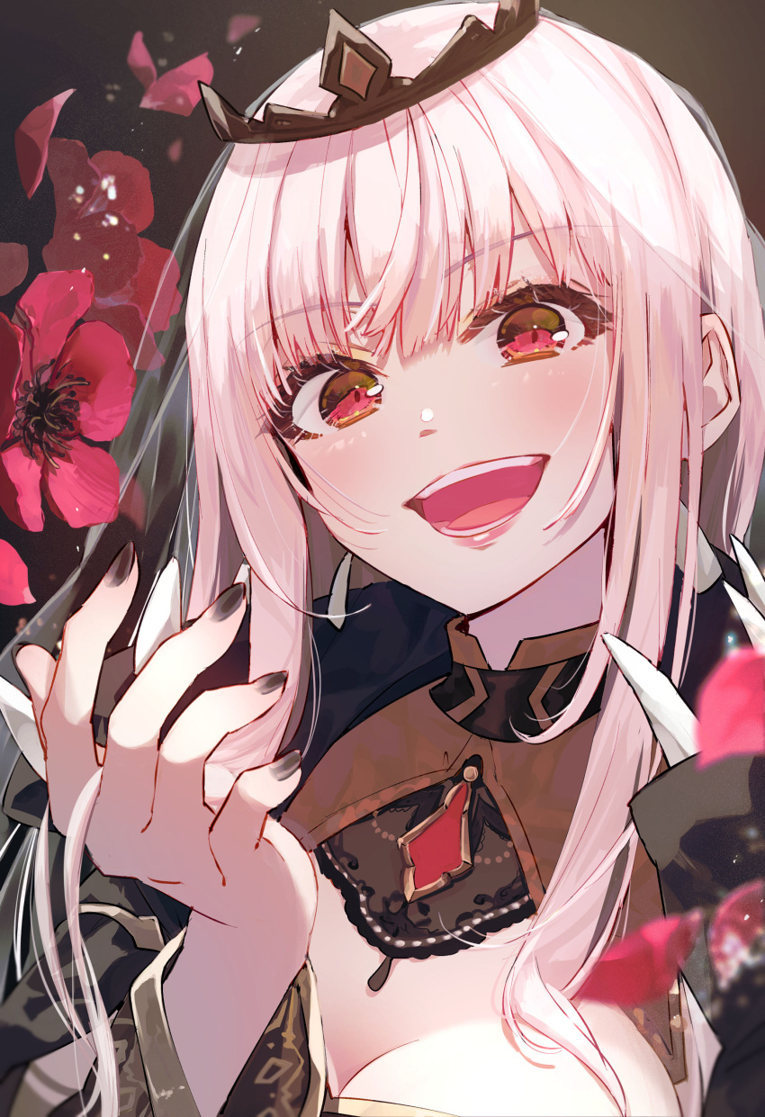 1girl :d absurdres anemone_(flower) black_nails blush brown_background commentary_request flower hand_up highres hololive hololive_english long_hair looking_at_viewer mori_calliope nail_polish open_mouth petals pink_eyes pink_hair red_flower simple_background smile solo syuri22 tiara upper_body virtual_youtuber
