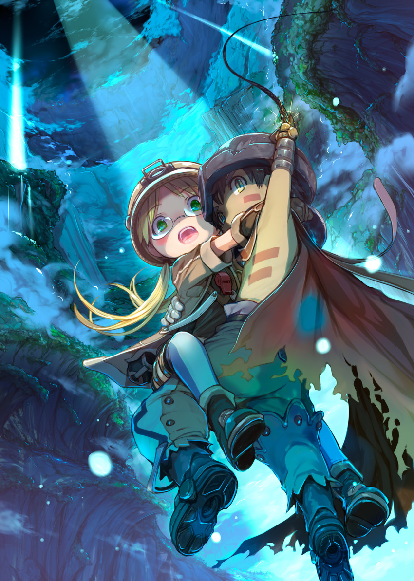 1boy 1girl blonde_hair boots cape carrying clouds commentary_request floating_hair glasses gloves green_eyes helmet highres light_rays low_twintails made_in_abyss mikazuki_akira! nature night open_mouth pants regu_(made_in_abyss) riko_(made_in_abyss) scenery shaded_face sky tongue twintails upper_teeth whistle yellow_eyes