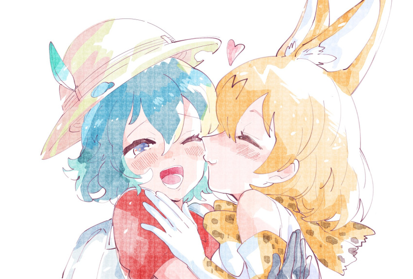 2girls :3 animal_ears backpack bag bare_shoulders black_hair blonde_hair blue_eyes blush bow bowtie closed_eyes commentary_request elbow_gloves extra_ears eyebrows_visible_through_hair gloves hat_feather helmet highres kaban_(kemono_friends) kemono_friends kiss knmttn multiple_girls one_eye_closed pith_helmet print_gloves print_neckwear red_shirt serval_(kemono_friends) serval_ears serval_girl serval_print shirt short_hair short_sleeves sleeveless t-shirt white_shirt