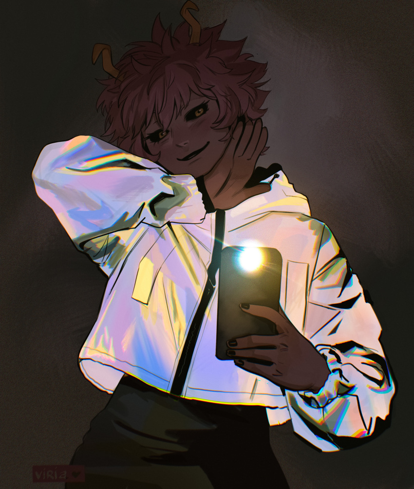 1girl absurdres arm_up artist_logo ashido_mina black_sclera boku_no_hero_academia cellphone colored_sclera female_pov fingernails head_tilt highres holding holding_phone horns jacket long_sleeves looking_at_viewer parted_lips phone pink_hair pov selfie shiny shiny_clothes short_hair skirt smartphone smile solo taking_picture upper_body viria13 yellow_eyes