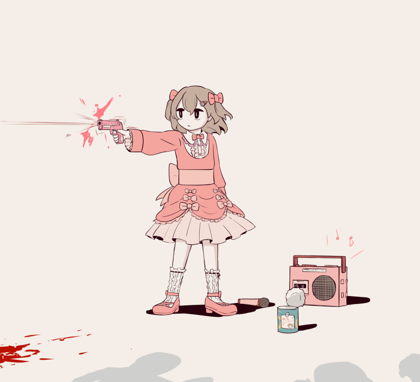 1girl 3others absurdres arm_up avogado6 bear_hair_ornament beige_background belt_bow black_eyes blood blood_splatter bow bowtie bullet_trail can closed_mouth collared_shirt commentary_request dress firing frilled_dress frilled_legwear frilled_shirt frilled_shirt_collar frills full_body gun hair_bow hair_ornament hairclip highres holding holding_gun holding_weapon kneehighs layered_dress long_sleeves microphone multiple_others musical_note no_sclera original pink_bow pink_dress pink_footwear pink_neckwear pleated_dress radio shadow shirt simple_background standing weapon