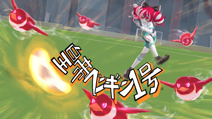 1girl ball bow colored_skin colored_tongue commentary_request double_bun grey_hair hair_bow heterochromia highres hololive hololive_indonesia inazuma_eleven_(series) jersey kicking kureiji_ollie laing multicolored_hair open_mouth parody patchwork_skin red_eyes redhead short_sleeves shorts smile soccer_ball soccer_field soccer_uniform solo sportswear stadium stitched_face stitches translation_request virtual_youtuber white_hair yellow_eyes zombie