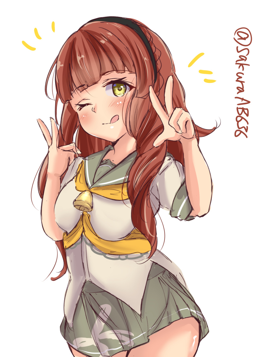 1girl absurdres bangs beige_shirt bell black_hairband blunt_bangs braid brown_hair cowboy_shot de_ruyter_(kancolle) double_v green_eyes green_sailor_collar green_skirt hairband highres kantai_collection long_hair looking_at_viewer neckerchief one-hour_drawing_challenge orange_neckwear pleated_skirt sailor_collar sailor_shirt sakura_ab school_uniform serafuku shirt side_braid simple_background skirt solo tongue tongue_out v wavy_hair white_background