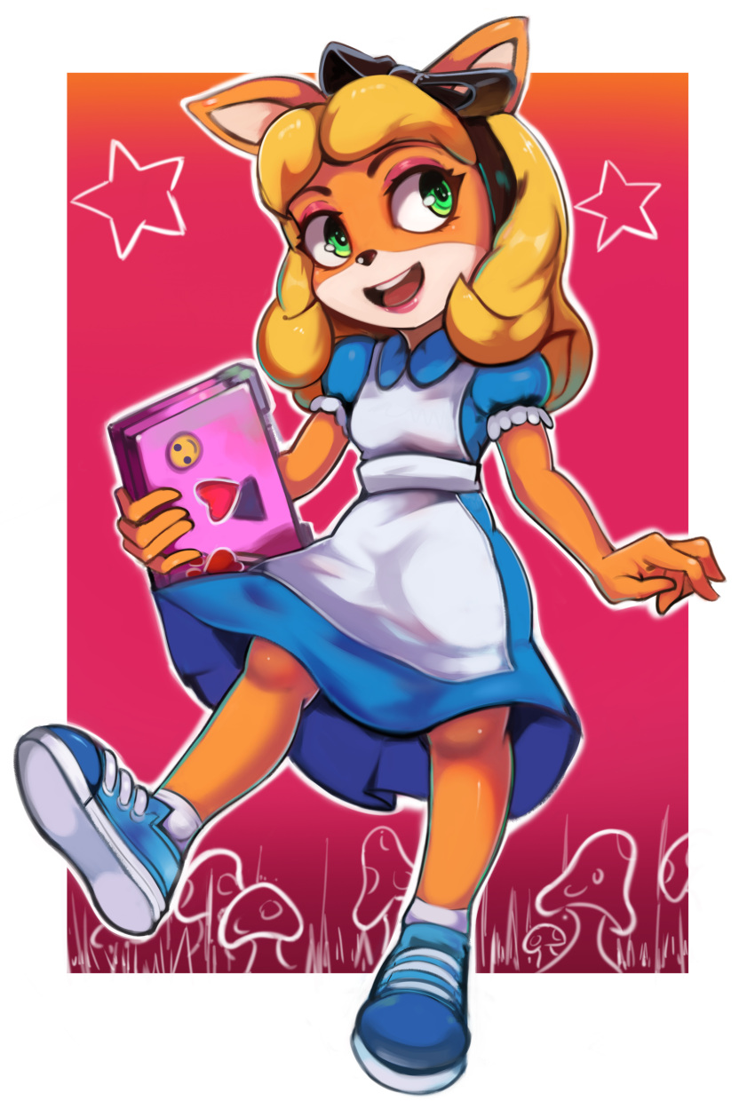 1girl absurdres alice_(wonderland) alice_(wonderland)_(cosplay) alice_in_wonderland alternate_costume alternate_hairstyle animal_ears animal_nose apron black_hairband blonde_hair blue_dress blue_footwear body_fur border bow coco_bandicoot collared_dress commentary computer cosplay crash_bandicoot dress eyeshadow flat_chest frilled_sleeves frills full_body furry gradient gradient_background grass green_eyes hair_bow hairband happy heart highres holding holding_laptop laptop long_hair looking_to_the_side makeup mushroom open_mouth orange_fur outline outside_border pink_eyeshadow puffy_short_sleeves puffy_sleeves red_background red_lips shiny shiny_hair shoes short_sleeves sidelocks smile sneakers socks solo standing star_(symbol) sticker teeth toasty_scones two-tone_fur white_apron white_border white_fur white_legwear white_outline