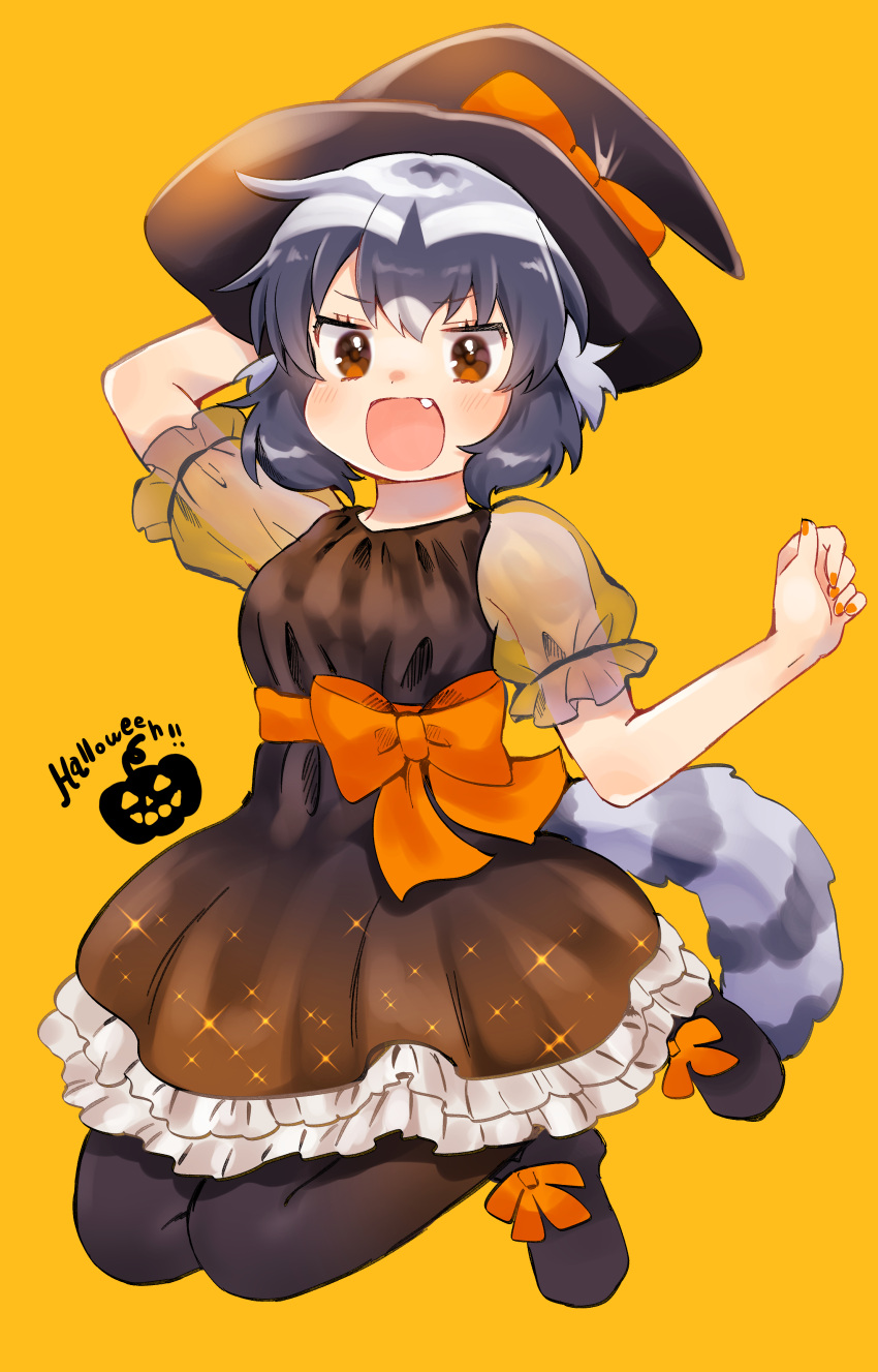 1girl absurdres alternate_costume animal_ears black_dress black_footwear black_legwear bow commentary_request common_raccoon_(kemono_friends) dress fang frilled_dress frills grey_hair halloween hat hat_bow highres kemono_friends multicolored_hair nail_polish open_mouth orange_bow orange_nails pantyhose puffy_short_sleeves puffy_sleeves raccoon_ears raccoon_girl raccoon_tail see-through short_hair short_sleeves solo suicchonsuisui tail white_hair witch witch_hat