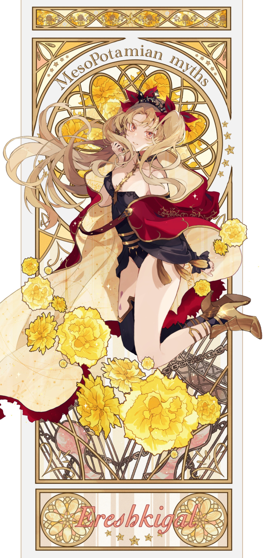 1girl absurdres ankle_boots black_leotard blonde_hair blush boots bow breasts cape character_name cowboy_shot crown detached_sleeves english_text ereshkigal_(fate) fate/grand_order fate_(series) floating_hair hair_bow hand_up high_heel_boots high_heels highres leotard long_hair long_sleeves looking_at_viewer medium_breasts orange_eyes parted_lips pink_eyes red_bow red_cape satsuki_(miicat) simple_background single_thighhigh smile solo spine standing strapless strapless_leotard thigh-highs twintails two-sided_cape two-sided_fabric white_background