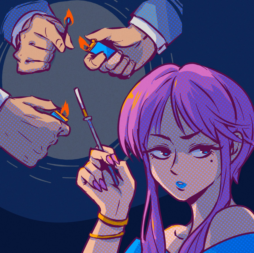 1girl akairiot blue_eyes blue_lips bracelet cigarette cigarette_holder fire halftone hand_up highres jewelry lighter long_hair mole mole_under_eye original purple_hair purple_nails solo upper_body