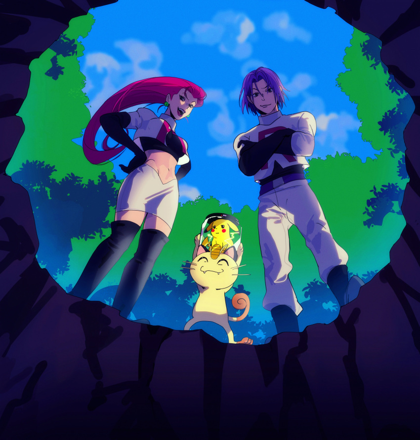 1boy 1girl absurdres bangs belt black_footwear boots closed_mouth clouds commentary cropped_jacket crossed_arms day earrings from_below gen_1_pokemon hair_between_eyes highres jacket james_(pokemon) jessie_(pokemon) jewelry long_hair meowth navel open_mouth outdoors pants pikachu pitfall pokemon pokemon_(anime) pokemon_(classic_anime) pokemon_(creature) purple_hair sinful_hime skirt sky smile standing team_rocket team_rocket_uniform thigh-highs thigh_boots tongue upper_teeth white_jacket white_pants white_skirt
