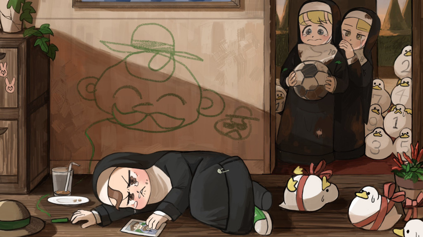 3girls animal_tower ball bendy_straw bird black_legwear blonde_hair blue_eyes brown_eyes brown_hair catholic chalk chicken child_drawing chili_pepper commentary crack crying crying_with_eyes_open cup dirty dirty_clothes diva_(hyxpk) doorway drawer drinking_glass drinking_straw duck dusk english_commentary graffiti green_footwear habit hand_on_another's_shoulder hanging_plant hat hedge_(plant) highres holding holding_ball little_nun_(diva) lying mud multiple_girls number nun on_side oversized_clothes photo_(object) picture_frame pillar plant plate potted_plant ribbon safety_pin shoes single_shoe sneakers snot soccer_ball socks sticker straw_hat streaming_tears tearing_up tears torn_clothes tree wavy_mouth yellow_eyes younger