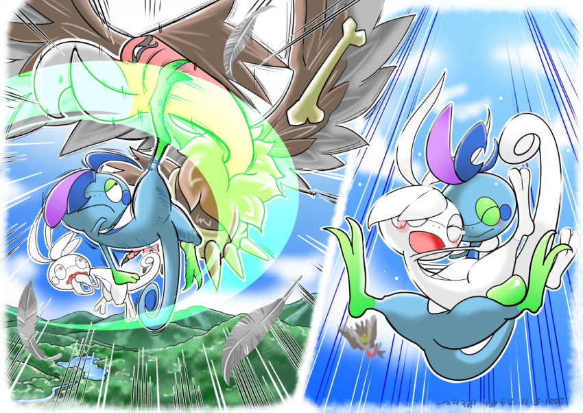 albino attack bird blush bone closed_mouth clouds commentary_request dated day drizzile emphasis_lines falling feathers gen_5_pokemon gen_8_pokemon kicking mandibuzz motion_lines no_humans open_mouth outdoors outline pokemon pokemon_(creature) sky smile takigawa_geenito tearing_up tongue  d