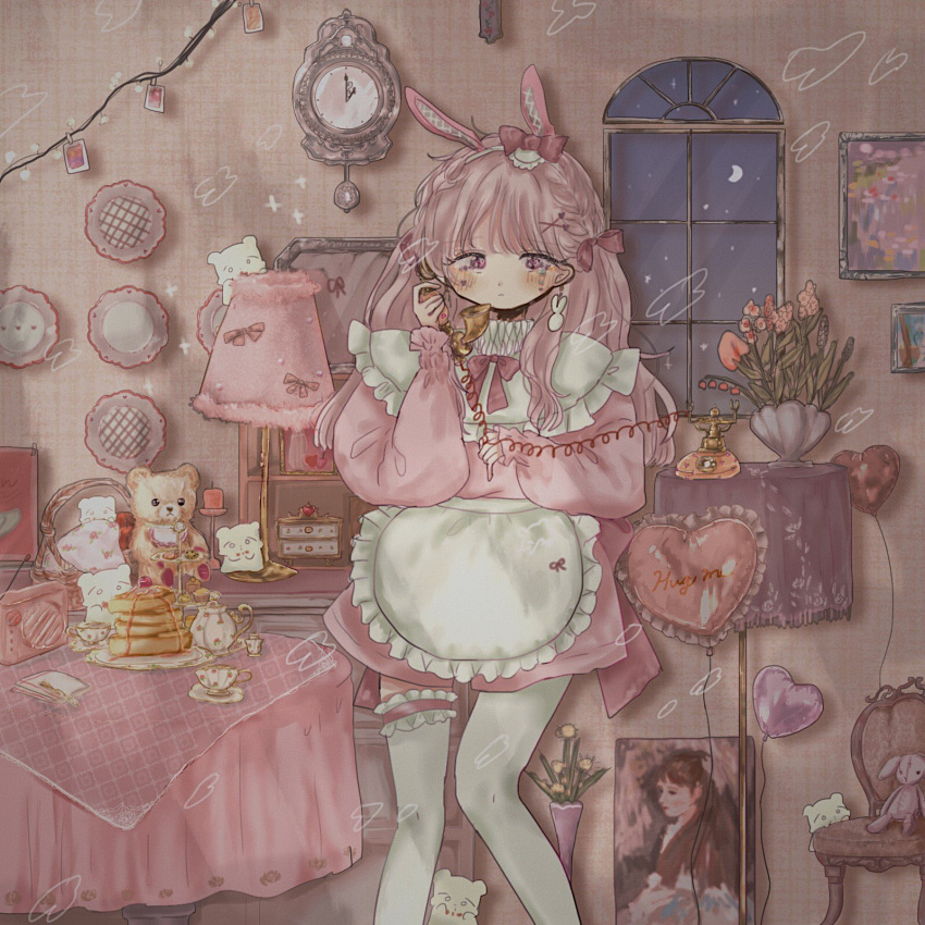 2girls apron balloon cabinet chest_of_drawers christmas_lights clock cup doily flower food_print frilled_sleeves frills heart heart-shaped_balloon highres lamp lights long_sleeves maid maid_apron moon multiple_girls original painting_(object) pendulum phone pink_sleeves pink_sweater radio sad saucer shinanashina strawberry_print stuffed_animal stuffed_toy sweater table teacup teapot teddy_bear thigh-highs vase window wire