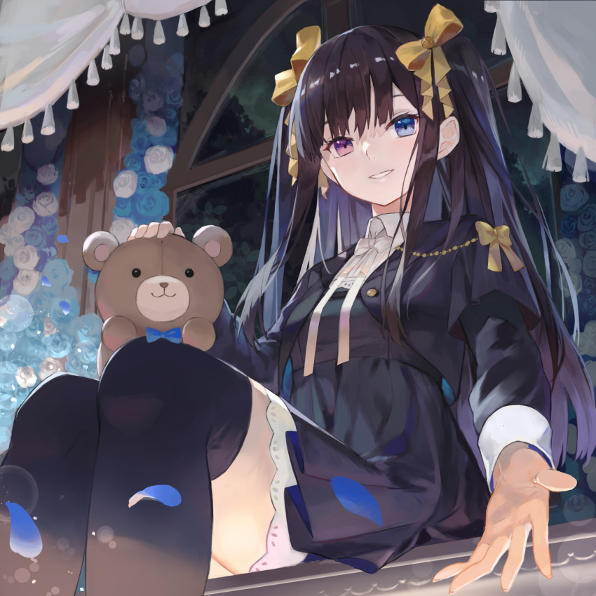 1girl bangs black_hair black_jacket black_legwear black_skirt blue_eyes blue_flower blue_rose bow collared_shirt commentary_request curtains eyebrows_behind_hair feet_out_of_frame flower hair_bow heterochromia highres jacket kobuta layered_sleeves long_hair long_sleeves looking_at_viewer open_clothes open_jacket original outstretched_arm parted_lips pleated_skirt rose shirt short_over_long_sleeves short_sleeves sitting skirt smile solo stuffed_animal stuffed_toy tassel teddy_bear thigh-highs two_side_up very_long_hair violet_eyes white_bow white_flower white_rose white_shirt window yellow_bow