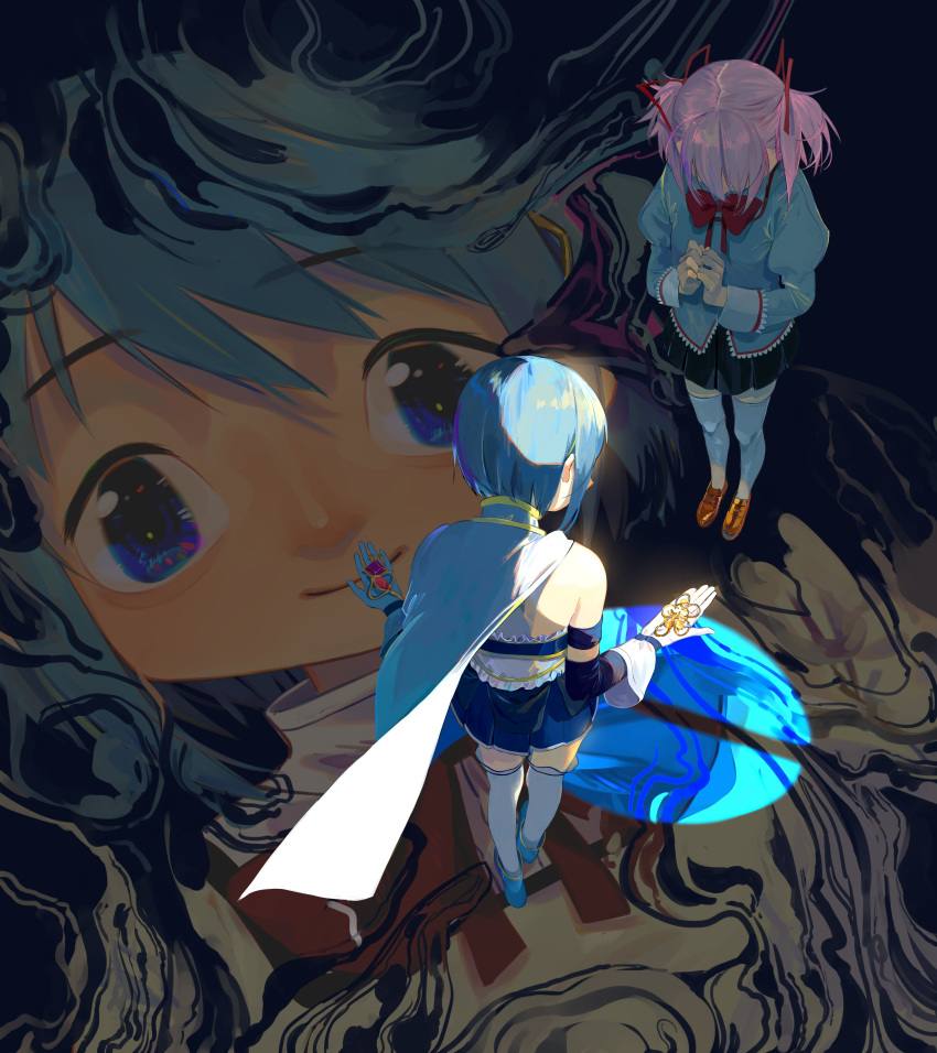 2girls absurdres bare_back bare_shoulders black_skirt blue_eyes blue_footwear blue_hair blue_skirt brown_footwear cape elbow_gloves eyebrows_visible_through_hair faceless floating_cape from_above gloves hair_ornament hairclip highres holding holding_hair_ornament holding_hands kaname_madoka long_sleeves magical_girl mahou_shoujo_madoka_magica miki_sayaka mitakihara_school_uniform multiple_girls neck_ribbon open_hands pantyhose perspective pink_hair puffy_long_sleeves puffy_sleeves red_ribbon ribbon sate_(ryu_ryu_1212m) school_uniform short_hair short_twintails skirt smile soul_gem thigh-highs twintails white_gloves white_legwear zettai_ryouiki