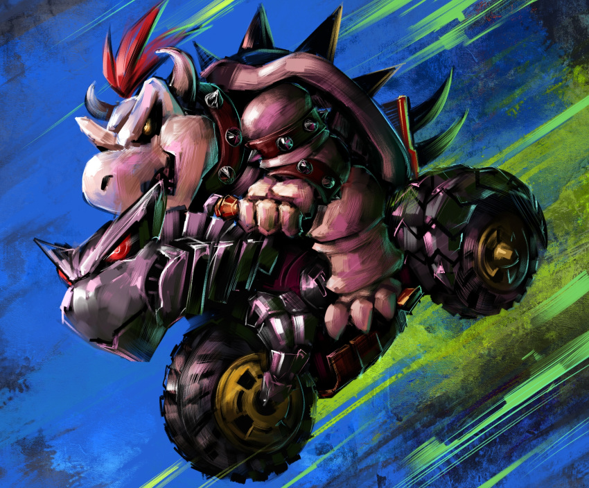 1boy bowser bracelet claws commentary disutihada driving dry_bowser from_side glowing glowing_eye ground_vehicle highres horns jewelry male_focus mario_(series) mario_kart motor_vehicle motorcycle multicolored multicolored_background on_motorcycle open_mouth redhead riding sharp_teeth short_hair solo spiked_armlet spiked_bracelet spiked_shell spikes teeth turtle_shell yellow_eyes
