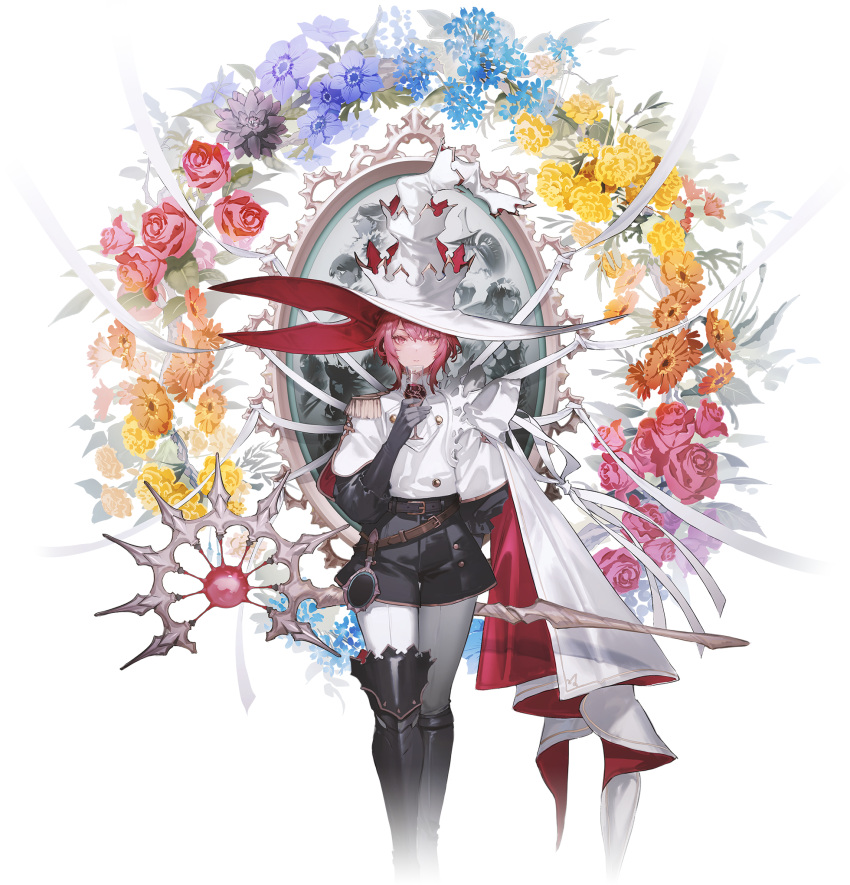 1girl belt black_footwear black_gloves black_shorts blue_flower boots capelet chymei cygames epaulettes flower gloves hat highres key_visual looking_at_viewer mogumo official_art pink_eyes pink_hair project_gamm promotional_art puffy_sleeves red_flower ribbon short_hair shorts single_epaulette solo staff standing thigh-highs thigh_boots transparent_background white_ribbon witch_hat yellow_flower