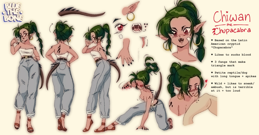 1girl artist_name bite_mark bluethebone braid brown_eyes character_sheet chiwan_the_chupacabra chupacabra commentary denim earrings english_commentary english_text fangs full_body green_hair highres hoop_earrings jeans jewelry monster_girl multiple_views original pants ponytail sandals simple_background strapless tail tubetop white_background white_tubetop