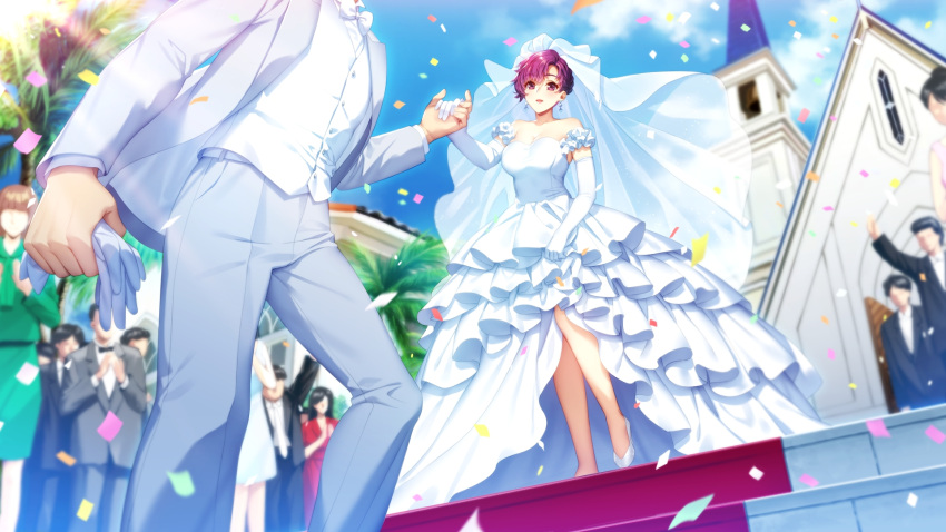 bangs confetti day doukyuusei dress earrings elbow_gloves from_below game_cg gloves grey_jacket grey_pants hair_between_eyes head_out_of_frame highres holding_hands jacket jewelry layered_dress long_dress naruse_kaori_(doukyuusei) official_art open_clothes open_jacket open_mouth outdoors pants pumps purple_hair red_lips shiny shiny_hair short_hair sleeveless sleeveless_dress sumeragi_kohaku vest violet_eyes wedding wedding_dress white_dress white_footwear white_gloves white_vest