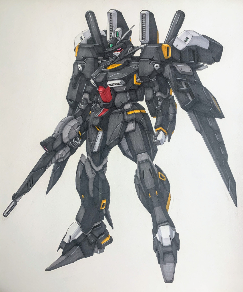 absurdres clenched_hand eclogue.566 ecole_du_ciel fusion gun gundam gundam_mk_v gundam_sentinel highres holding holding_gun holding_weapon le_cygne looking_ahead mecha mobile_suit no_humans pink_eyes radio_antenna redesign science_fiction solo traditional_media v-fin weapon