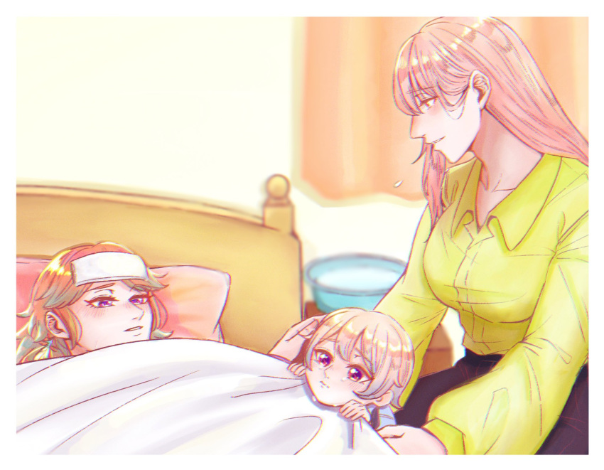 alternate_costume bed blanket child couple earrings family feather_earrings feathers gradient_hair highres hololive hololive_english if_they_mated ips_cells jewelry long_hair mori_calliope mother_and_daughter multicolored_hair multiple_girls pink_hair shirt sick siki_222 symbol_commentary takanashi_kiara towel towel_on_head under_covers wife_and_wife yellow_shirt