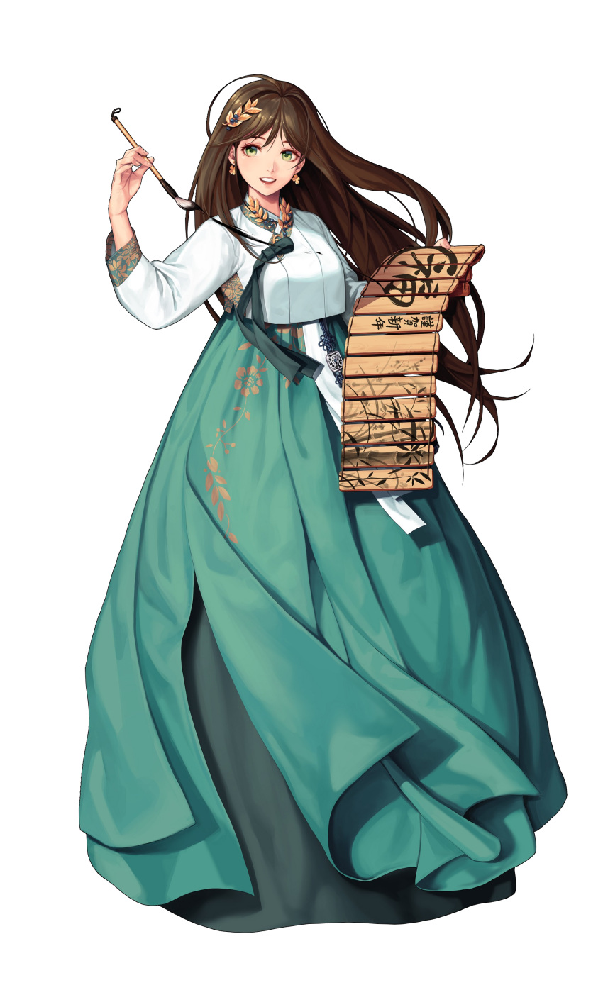 1girl absurdres ahoge bangs black_survival blue_skirt brown_hair calligraphy calligraphy_brush clover_earrings fingernails floral_print full_body green_eyes gweon_sua hair_between_eyes highres holding holding_brush lips long_hair long_skirt long_sleeves looking_at_viewer official_alternate_costume official_art open_mouth paintbrush skirt solo standing translation_request transparent_background upper_teeth yamakawa