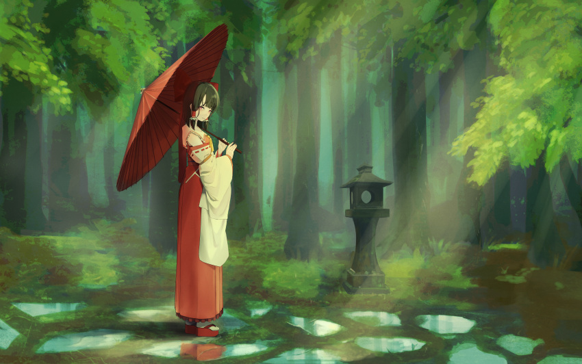 1girl absurdres after_rain ascot blush bow brown_eyes brown_hair closed_mouth detached_sleeves forest full_body gohei hair_bow hair_tubes hakama hakurei_reimu highres holding holding_umbrella huge_filesize japanese_clothes light_rays long_hair long_skirt looking_at_viewer meadow nature nontraditional_miko oil-paper_umbrella okobo puddle red_bow red_eyes red_footwear red_skirt scenery shinogo_yuu sidelocks skirt solo straight_hair sunbeam sunlight touhou umbrella wide_sleeves yellow_neckwear