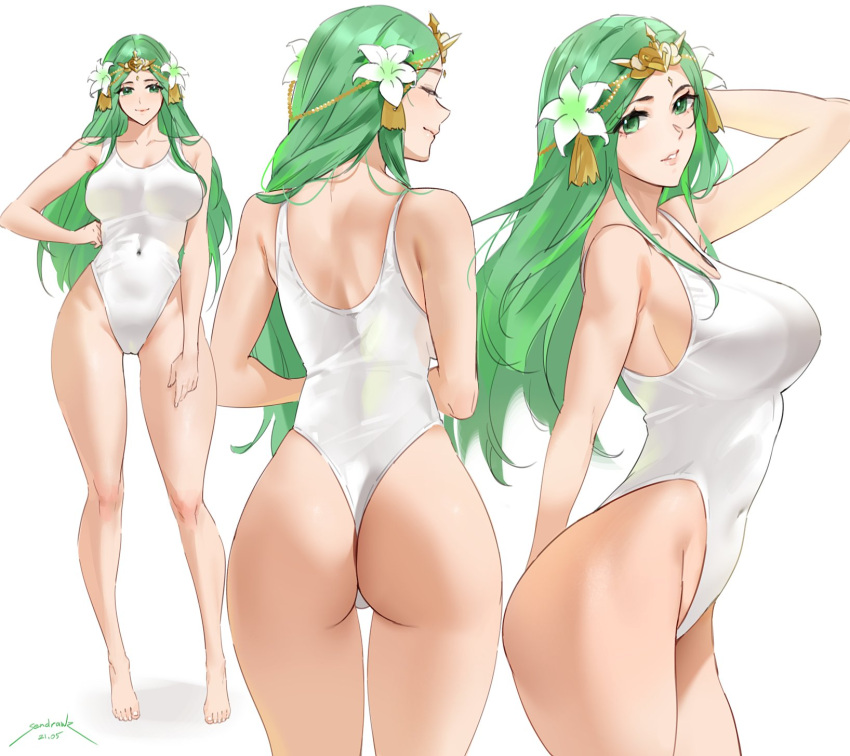 1girl ass back bangs bare_shoulders blush breasts circlet closed_eyes collarbone covered_navel fire_emblem fire_emblem:_three_houses flower full_body green_eyes green_hair hair_flower hair_ornament highleg highleg_swimsuit highres large_breasts long_hair looking_at_viewer multiple_views one-piece_swimsuit parted_bangs rhea_(fire_emblem) sendrawz simple_background smile swimsuit thighs white_swimsuit