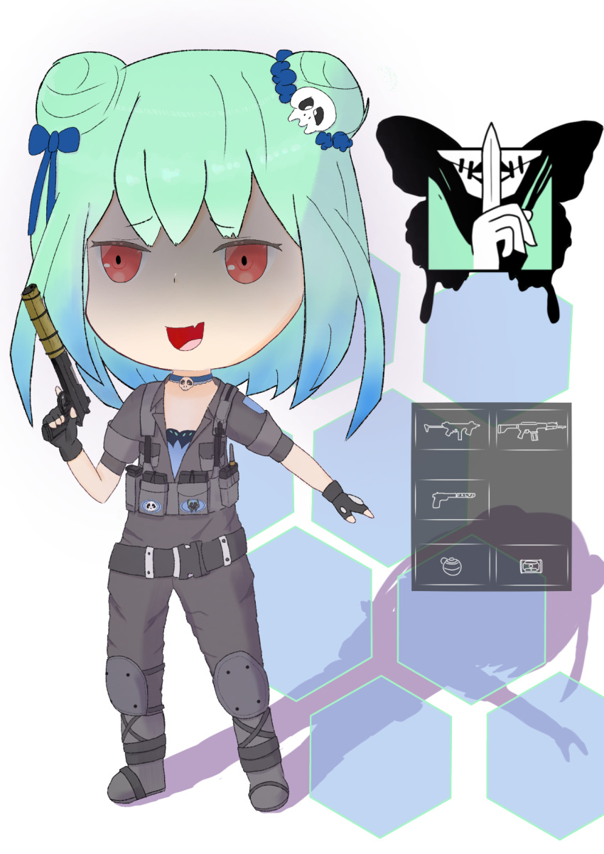 1girl beretta_92 blade bug butterfly caveira_(rainbow_six_siege) caveira_(rainbow_six_siege)_(cosplay) chest_rig cosplay fang fang_out flat_chest green_hair gun hair_ornament handgun highres hololive insect jewelry knee_pads load_bearing_vest necklace pistol rainbow_six_siege red_eyes shaded_face skull skull_hair_ornament smile suppressor tacos24185336 uruha_rushia virtual_youtuber weapon