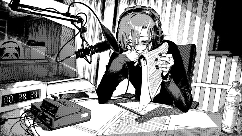 >_< 1other animal bangs bespectacled chair elbow_rest fang glasses hair_between_eyes headphones highres holding holding_paper long_sleeves microphone nail_polish nijisanji open_mouth panda paper pen pop_filter recording_studio ryuushen sitting skin_fang studio_microphone virtual_youtuber watch watch yuioni