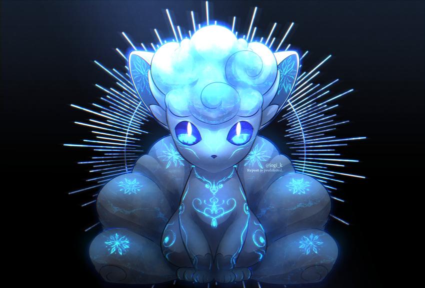 alolan_form alolan_vulpix blue_eyes body_markings commentary creature gen_7_pokemon glowing_markings highres iogi_(iogi_k) looking_at_viewer no_humans pokemon pokemon_(creature) repost_notice solo watermark