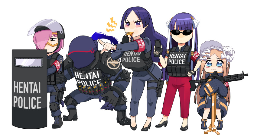 1boy 4girls abigail_williams_(fate) absurdres armlet assault_rifle bangs black_footwear blowing_whistle blue_eyes blush body_armor breasts bulletproof_vest coat fate/grand_order fate_(series) fingerless_gloves gloves gun hair_over_one_eye hair_ribbon hand_on_hip helmet high_heels highres lancelot_(fate/grand_order) large_breasts martha_(fate) mash_kyrielight mask minamoto_no_raikou_(fate) monkey_jon multiple_girls pants parted_bangs pink_hair pointing police police_badge police_uniform policewoman purple_hair red_pants ribbon rifle shield standing sunglasses uniform violet_eyes wavy_mouth weapon white_headwear