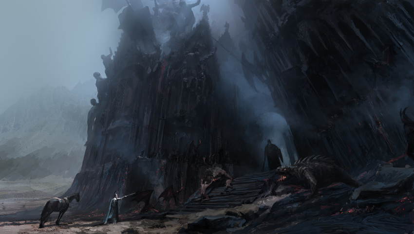 absurdres castle commentary crown dark english_commentary fingolfin highres holding holding_shield holding_sword holding_weapon horse legendarium mace monster morgoth pete_amachree scenery shield sword the_silmarillion weapon