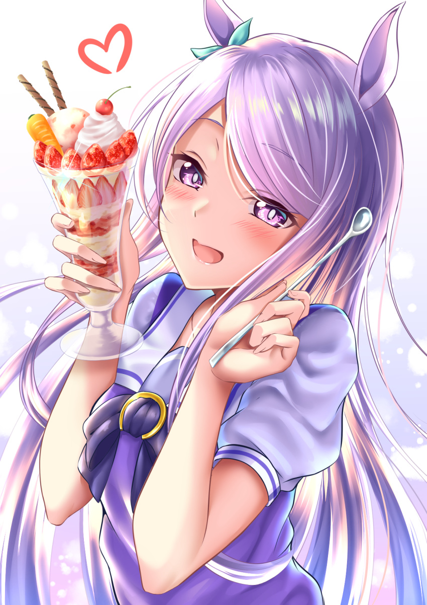 animal_ears arms_up bangs blue_bow bow carrot cherry commentary_request eyebrows_visible_through_hair eyes_visible_through_hair food fruit gradient gradient_background hair_bow heart highres holding holding_food holding_spoon horse_ears horseshoe ice_cream light_blush light_particles long_hair looking_at_viewer mejiro_mcqueen_(umamusume) open_mouth pink_eyes pink_hair purple_bow rairaisuruyo school_uniform short_sleeves smile spoon strawberry swept_bangs tracen_school_uniform umamusume whipped_cream white_background