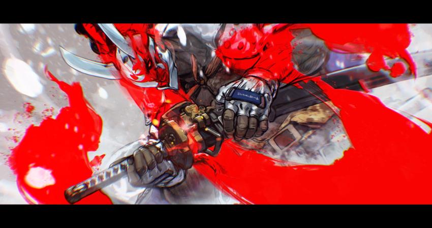 black_hair covered_face dark-skinned_male dark_skin fighting_stance fingerless_gloves gloves guilty_gear guilty_gear_strive highres male_focus muscular muscular_male nagoriyuki oni_mask samurai sword vampire weapon white_gloves