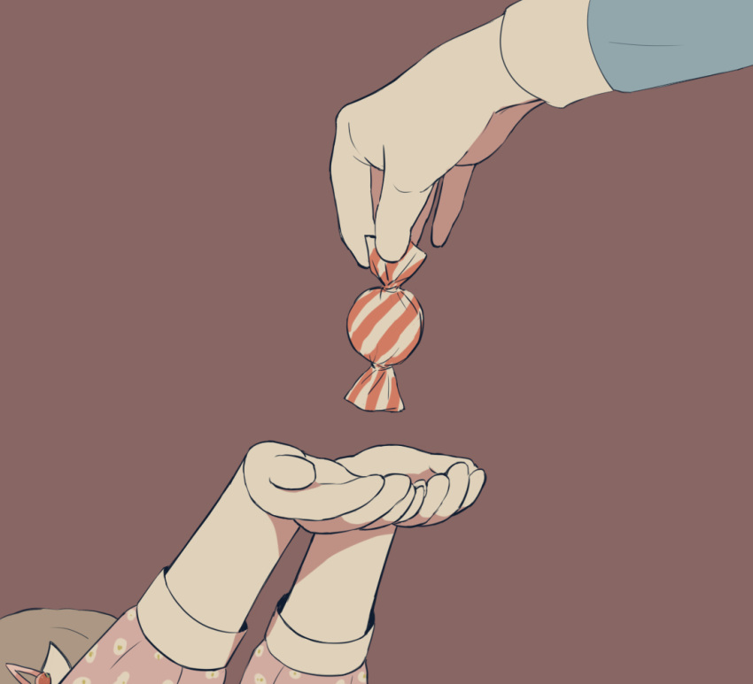 1girl 1other avogado6 brown_hair candy commentary_request cupping_hands food giving hair_ornament hairclip head_out_of_frame holding long_sleeves original outstretched_arms