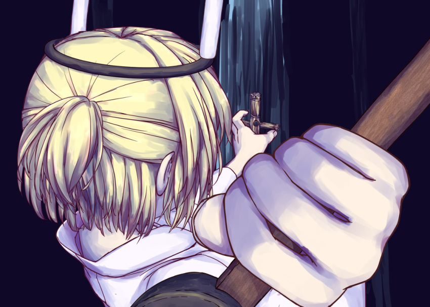 1girl alternate_costume bangs blonde_hair candle commentary_request from_behind half_updo hammer hashihime holding holding_hammer isu_(is88) japanese_clothes kimono mallet mizuhashi_parsee nail pointy_ears short_hair short_ponytail solo touhou upper_body waraningyou white_kimono