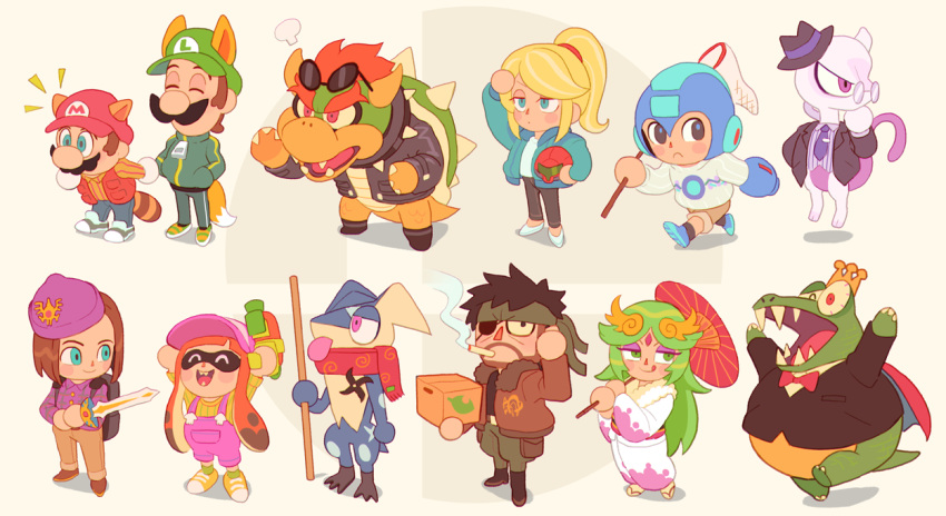 3girls 6+boys animal_crossing animal_ears arm_cannon beard big_boss big_nose blonde_hair bomber_jacket bow bowser bowtie box butterfly_net cape cigarette clothed_pokemon commentary crown donkey_kong_(series) donkey_kong_country dragon_quest dragon_quest_xi eyepatch facial_hair fangs formal fox_ears fox_tail gashi-gashi gen_1_pokemon gen_6_pokemon glasses greninja hand_net hat headband headwear_removed helmet helmet_removed hero_(dq11) inkling jacket japanese_clothes kid_icarus kid_icarus_uprising kimono king_k._rool leather leather_jacket legendary_pokemon licking_lips luigi mario mario_(series) mega_man_(character) mega_man_(classic) mega_man_(series) metal_gear_(series) metal_gear_solid_3 metroid mewtwo multiple_boys multiple_girls mustache necktie oil-paper_umbrella open_mouth overalls palutena parody pokemon pokemon_(creature) ponytail raccoon_ears raccoon_tail red_nose samus_aran scarf shoes shuriken sneakers splatoon_(series) splattershot_(splatoon) starter_pokemon stick style_parody suit super_mario_bros. super_smash_bros. sword tail tentacle_hair tongue tongue_out umbrella weapon