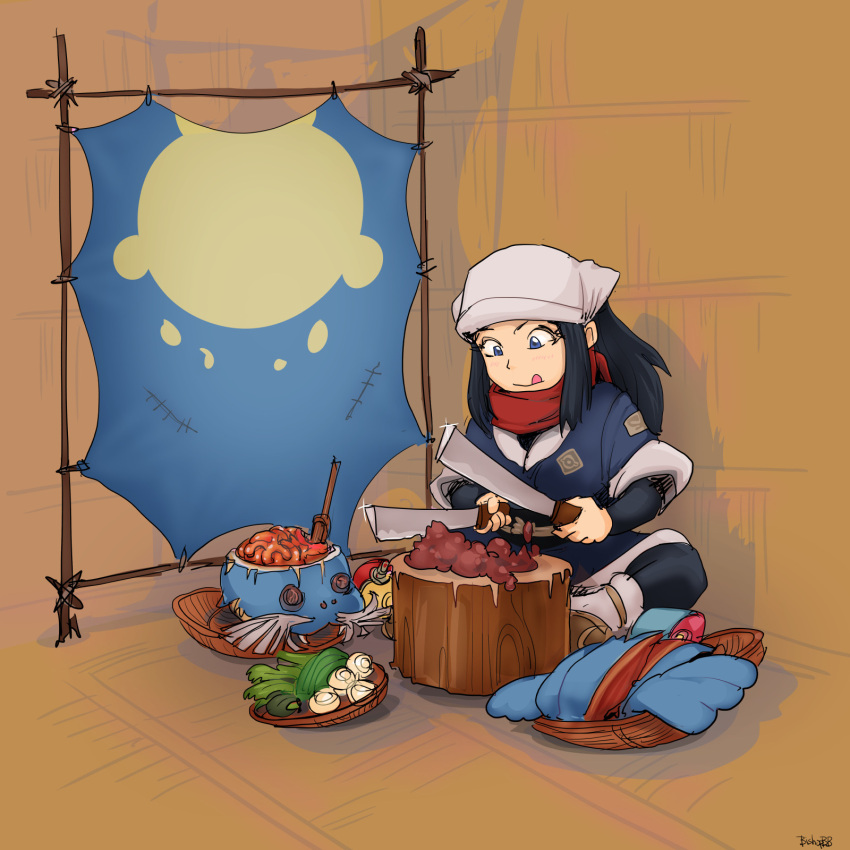 1girl :q ainu_clothes artist_name basket bishopofbathandwells69 blade blue_clothes blue_eyes blue_hair boned_meat brain chitatap commentary corpse dual_wielding english_text female_protagonist_(pokemon_legends:_arceus) focused food gen_3_pokemon glint highres holding holding_knife indian_style indoors knife log long_hair looking_down meat onion organs pokemon pokemon_(game) pokemon_legends:_arceus raised_eyebrow sandals sealeo sidelocks sitting solo sparkle tongue tongue_out vegetable