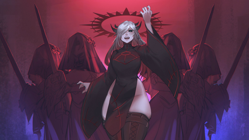 5girls absurdres black_dress black_sclera breasts colored_sclera covered_face dress hair_over_one_eye halo hand_up highres horns large_breasts less long_hair long_sleeves looking_at_viewer multiple_girls multiple_horns no_panties open_mouth original pelvic_curtain silver_hair sword thigh-highs veil weapon wide_hips wide_sleeves