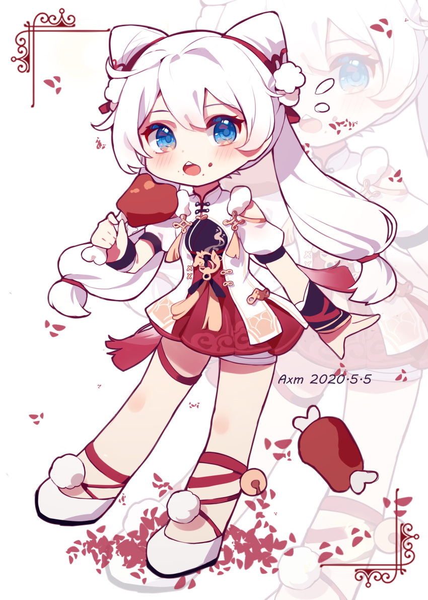 1girl absurdres ai_xiao_meng bare_shoulders blue_eyes boned_meat chinese_clothes eating food food_on_face full_body highres holding holding_food honkai_(series) honkai_impact_3rd kiana_kaslana long_hair looking_at_viewer meat open_mouth shorts simple_background solo white_background white_hair