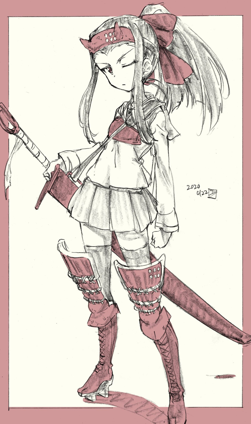 1girl armor artist_name bad_id bad_twitter_id blouse boots clenched_hand closed_mouth commentary cross-laced_footwear dated erakin fake_horns frown full_body geta girls_und_panzer graphite_(medium) hair_up headband highres holding holding_sword holding_weapon horns japanese_armor lace-up_boots limited_palette long_hair long_sleeves looking_at_viewer miniskirt muneate neckerchief one_eye_closed oni_horns ooarai_school_uniform pleated_skirt ponytail reverse_grip saemonza_(girls_und_panzer) sailor_collar school_uniform serafuku signature sketch skirt solo standing straight_hair sword thigh-highs thigh_boots traditional_media weapon