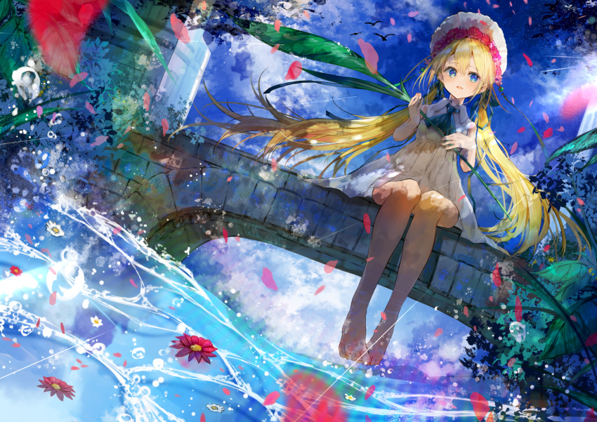 1girl :d ascot bangs blonde_hair blue_eyes blue_neckwear blue_sky blush brown_legwear clouds cloudy_sky collared_dress commentary_request day dress dutch_angle eyebrows_visible_through_hair flower flower_on_liquid hair_between_eyes hair_flower hair_ornament highres holding long_hair low_twintails open_mouth original outdoors pantyhose petals petals_on_liquid red_flower sitting sky sleeveless sleeveless_dress smile solo twintails umino_mizu very_long_hair water water_drop white_dress white_headwear