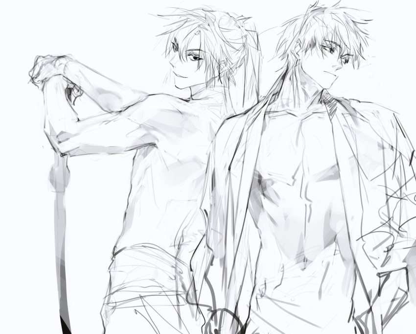2boys bare_pectorals closed_mouth eyebrows_visible_through_hair eyes_visible_through_hair greyscale haban_(haban35) hair_between_eyes hand_in_pocket hand_on_hilt highres holding holding_sword holding_weapon long_hair looking_at_viewer looking_back male_focus monochrome multiple_boys navel original parted_lips pectorals ponytail shirtless simple_background sketch smile sword weapon white_background