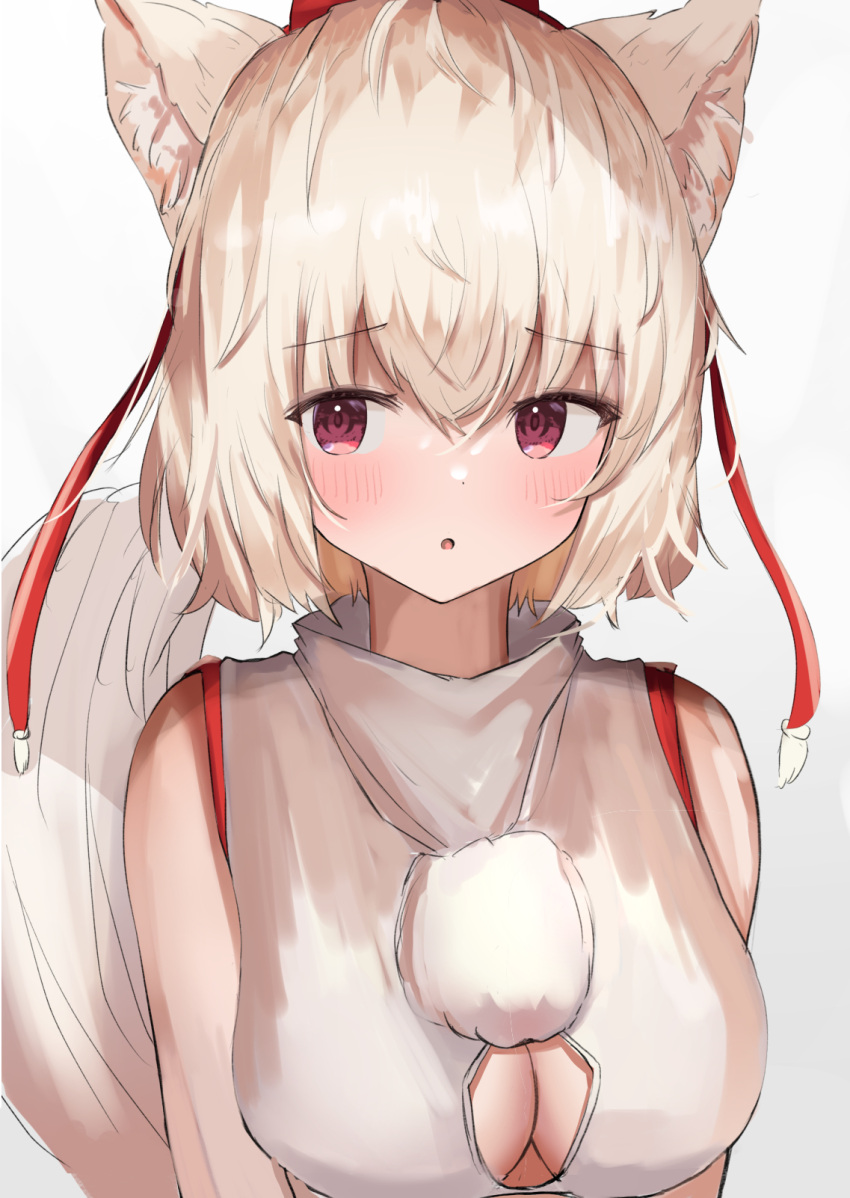 1girl :o animal_ear_fluff animal_ears aohane bare_shoulders blush breasts cleavage_cutout clothing_cutout hat highres inubashiri_momiji large_breasts looking_to_the_side open_mouth simple_background solo tail tokin_hat touhou upper_body violet_eyes white_background wolf_ears wolf_tail