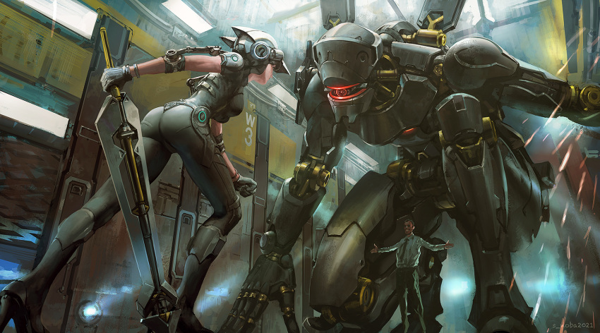 1boy 1girl artist_name ass black_hair breasts clenched_hand commentary_request duel gloves glowing helmet high_heels highres holding holding_sword holding_weapon indoors leaning_forward mecha necktie noba one_knee original outstretched_arms pants power_suit robot shirt short_hair smile sparks spread_arms sword weapon
